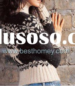 Womens 7gauge Cashmere sweater christmas Jacquard pullover pure cashmere sweater SWT-L11018
