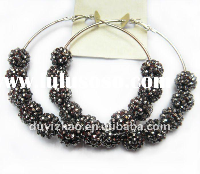 basketball wives rhinestone crystal ball hoop earrings