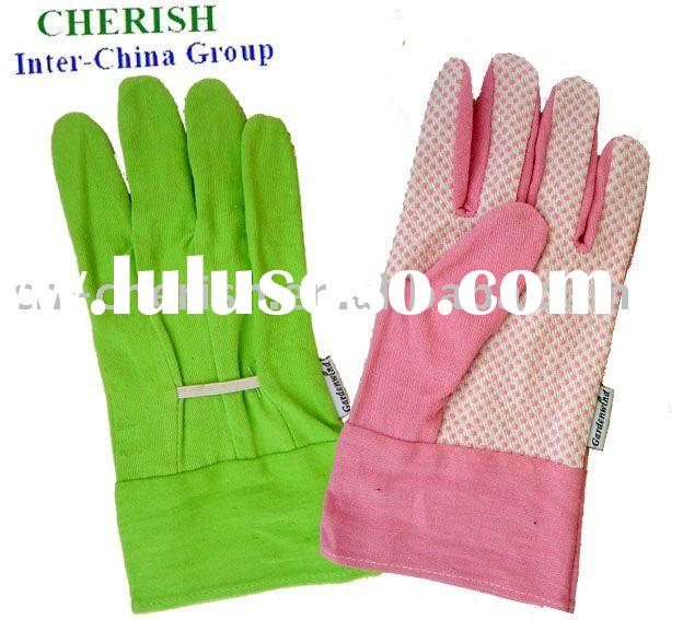 cotton garden gloves/PVC dotted palm/elastic band hand back