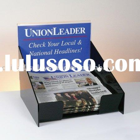 countertop acrylic newspaper display with sign holder