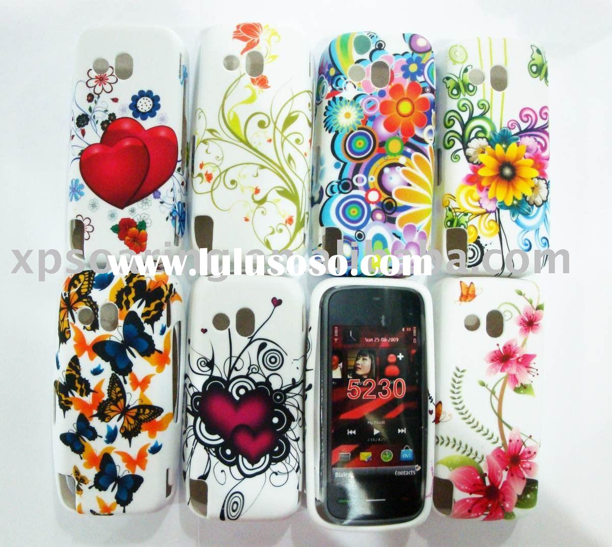 flowers TPU rubber case skin back cover for Nokia 5230