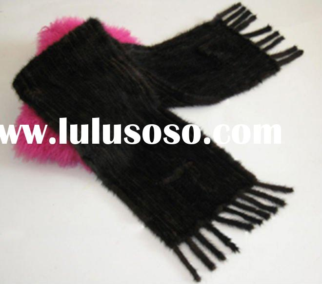 hand knitted mink fur shawl P010