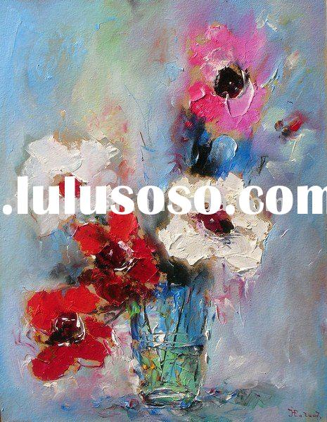 hand painted modern flower art painting