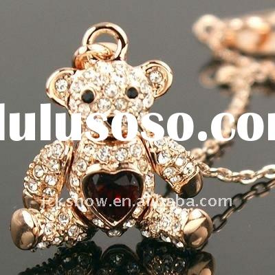 hot crystal bear pendant necklace jewelry