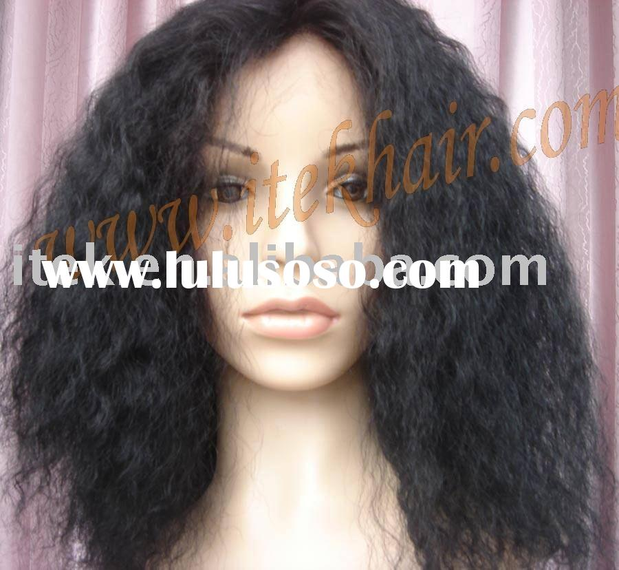 """large cap;16""""100% indian natural remy human hair full lace wig for African-American,accept payp"""