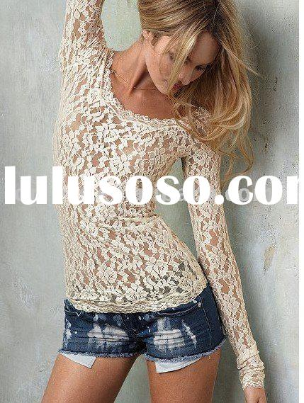long sleeve stretch lady lace tops