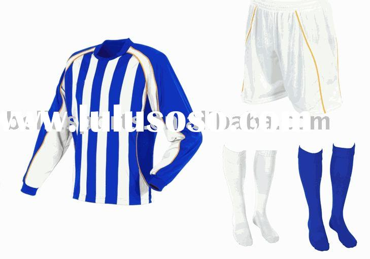 long sleeves soccer uniform,stripes sublimation printing football kits,navy goalkeeper's soc