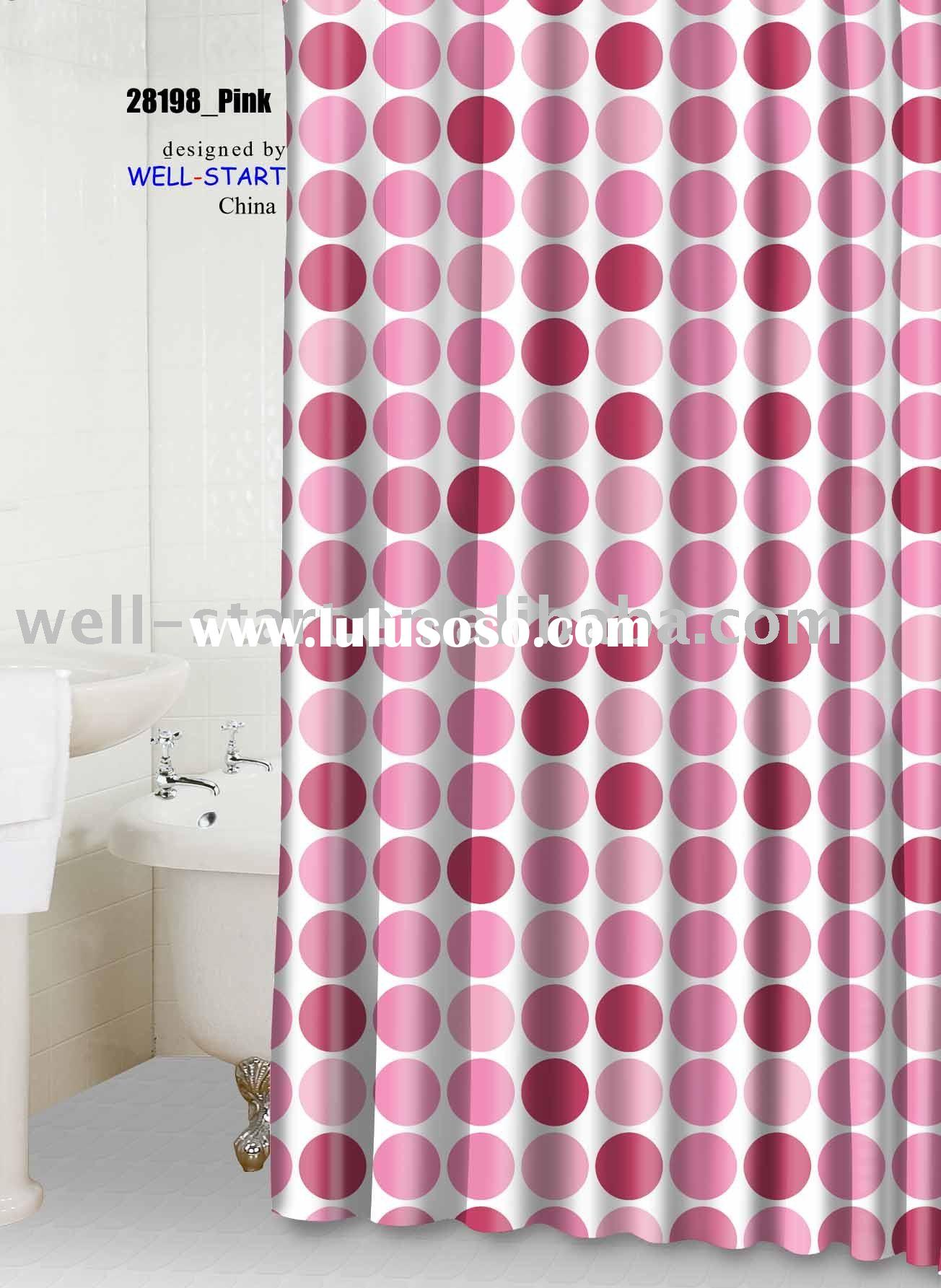 multi color dots_pink printed polyester fabric shower curtain