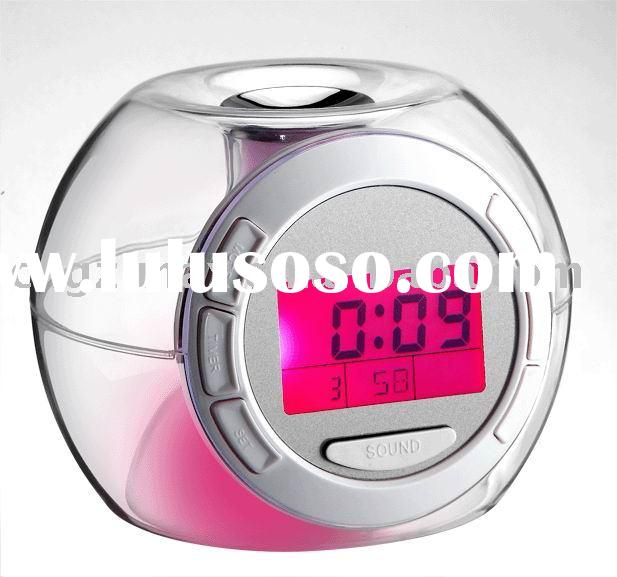 plastic desk color changing electric clock