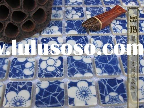 porcelain/ceramic blue and white art swimming pool mosaic tile