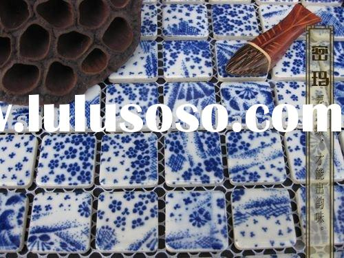 porcelain/ceramic blue and white bathroom floor mosaic tile