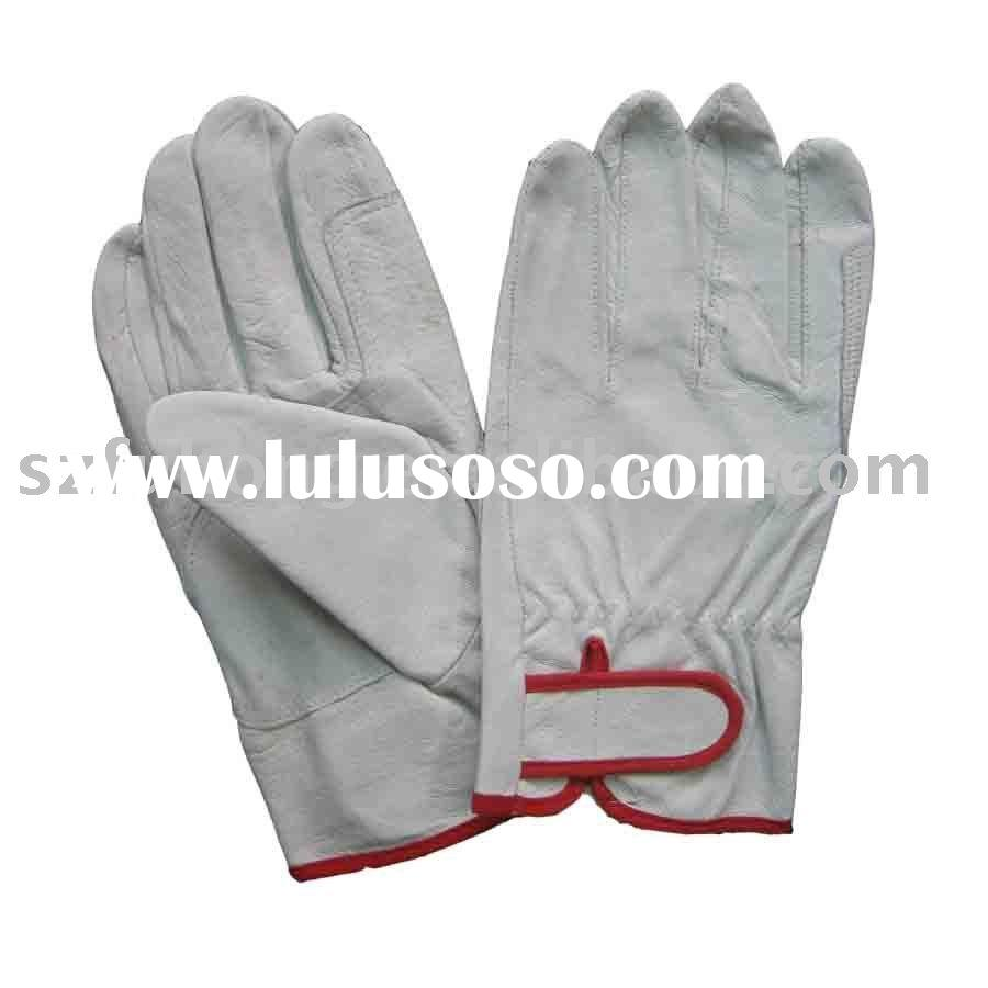 safety white pigskin leather safety gloves in industry work
