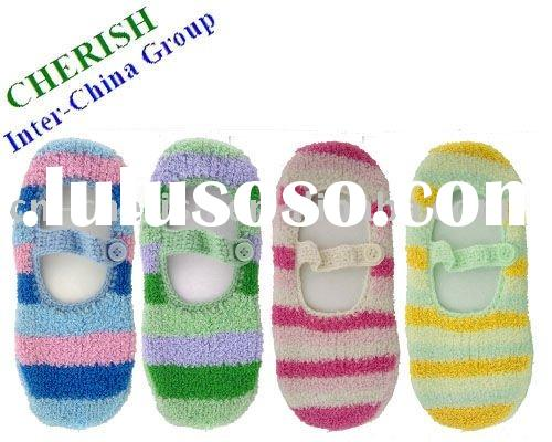 slipper sock with colorful stripes