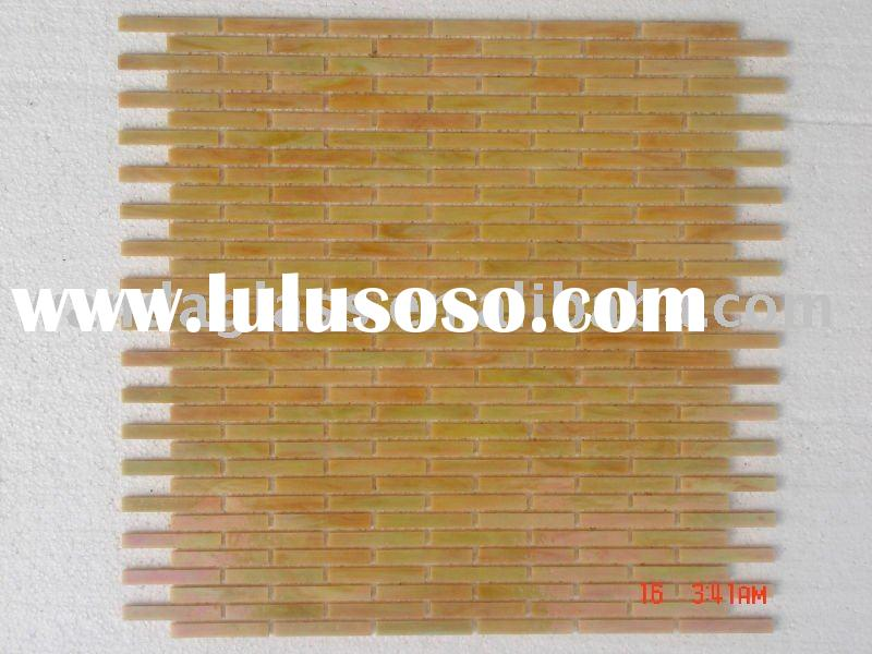 stained glass mosaic titles, yellow stick, rectangle