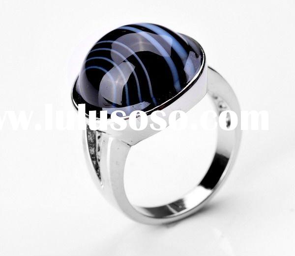 white gold plated copper Madagascar agate ring SR31