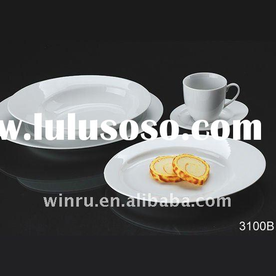 white porcelain dinner set round edge