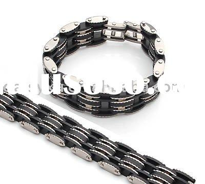 wholesale stainless steel bracelet with rubber