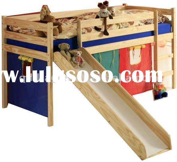 wooden bunk bed with slide