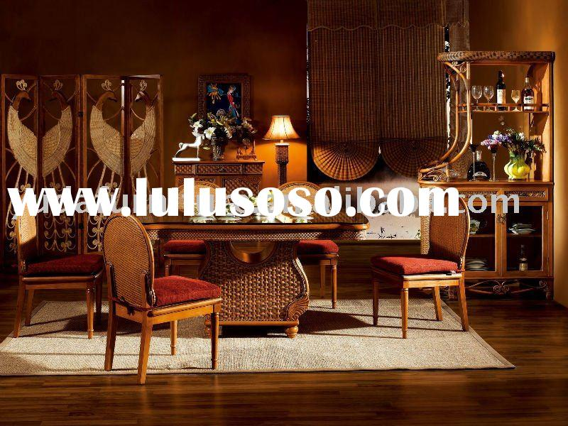 wooden outdoor furniture Natural Indonesia rattan Diningroom Set cane wicker