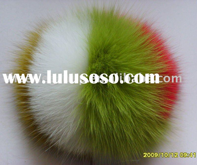 2009-2010 hot selling fox fur balls (Pom Pom ball) with different size and colour