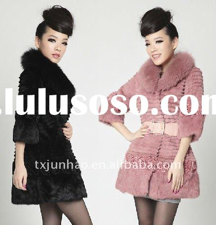 2011 WOMEN FASHION RABBIT FUR SHEARING COAT -NEW STYLE WITH FLOWER