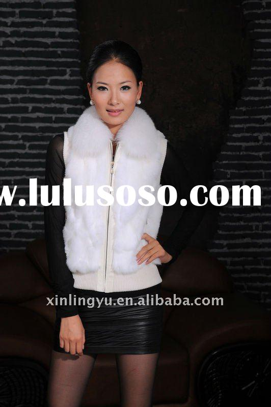 2012 Hot sell white color high quality warm rabbit fur ladies coat /vest with fox fur collar