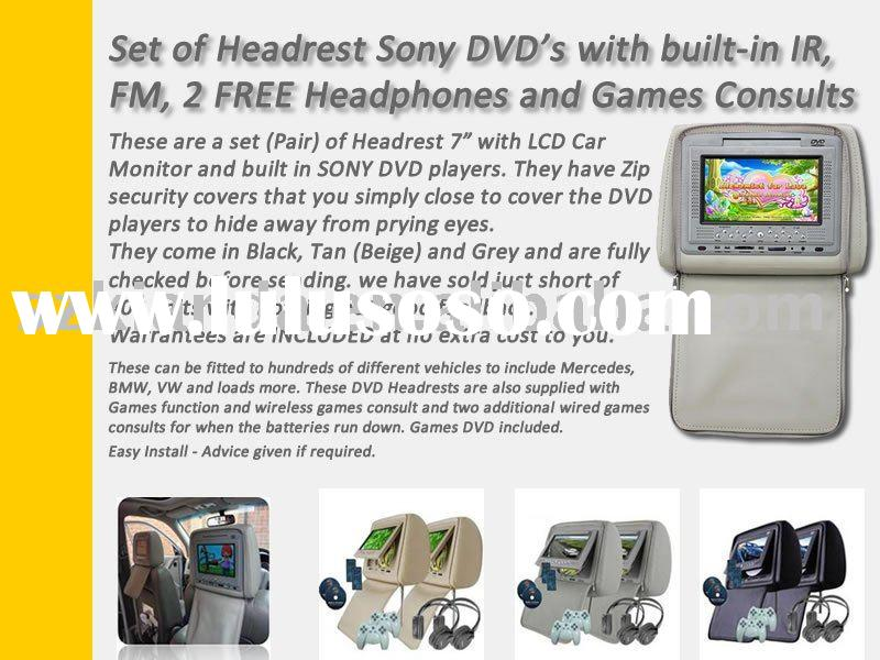 "7""Car headrest DVD player with Sony sensor/Wireless headphones/Game"