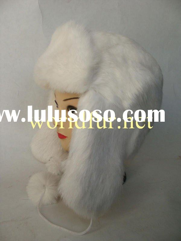 BY-F-H010 White Fox Fur Hat With Perfect Quality