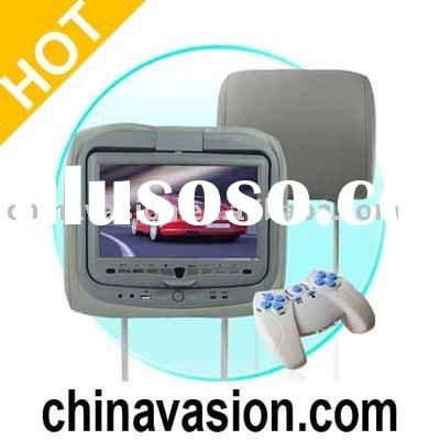 Car Headrest With DVD Player , Game System, and Media Card Reader