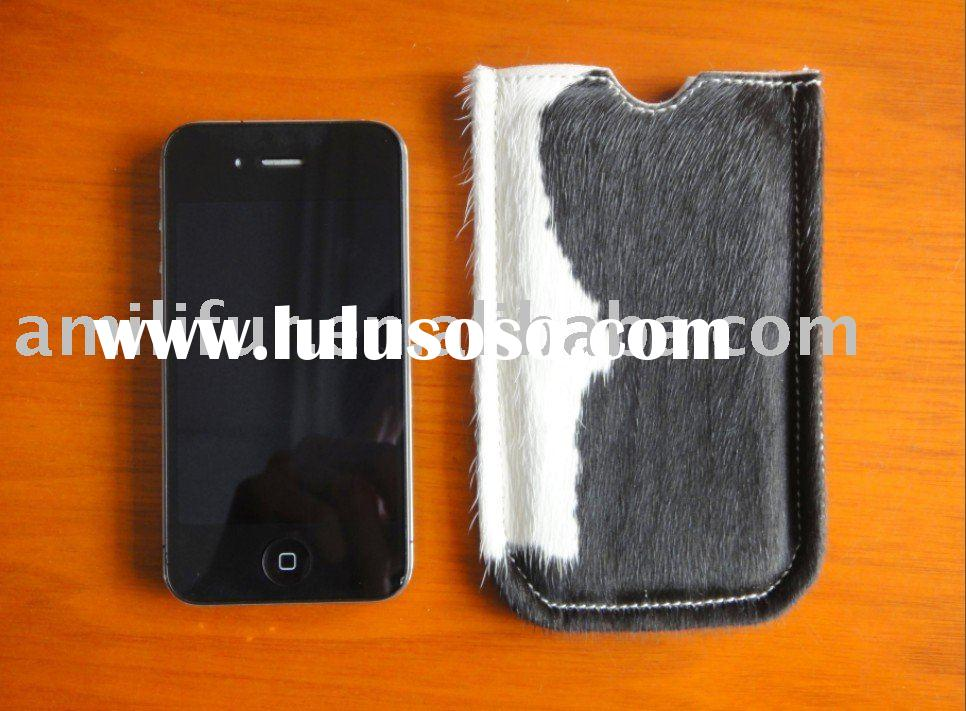 Fashion Genuine Cowskin Fur Cell Phone Pouch Pocket Case Bag Specially Designed For Iphone 4 NEW HOT