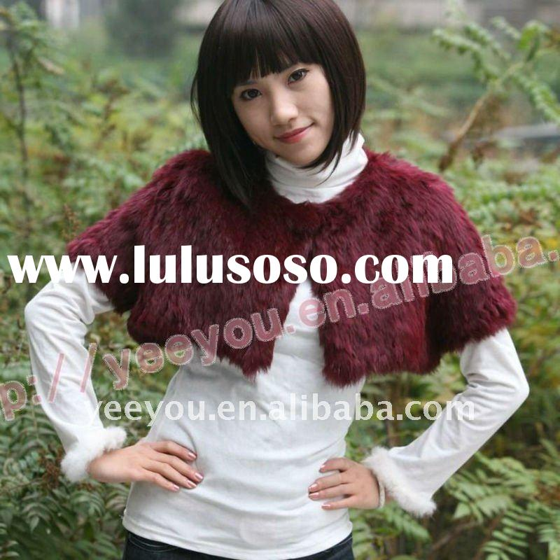 Fashion Purplish red Rabbit Fur Cape 10YY-Z05