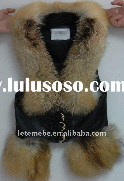 Girl's fur belted vest/wrist protectors, fox fur and sheep skin