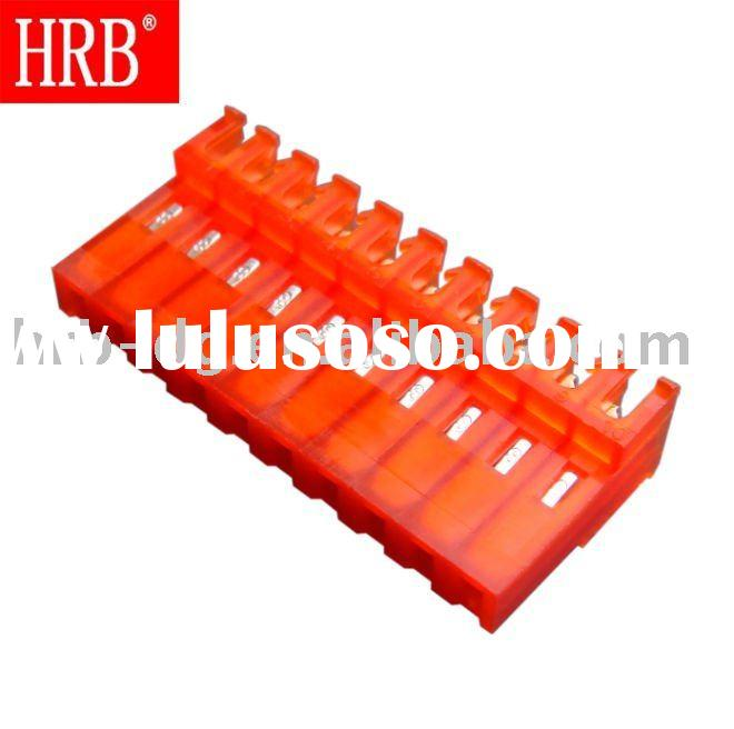 """HRB 3.96mm (0.156"""") pitch 10 pin 180 angle wire to board orange female IDC connector in middle"""