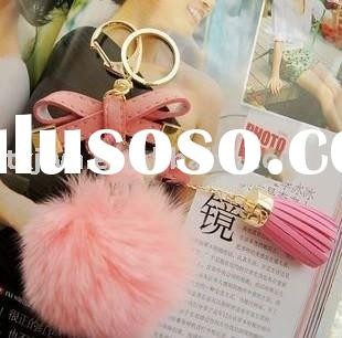 Pink lovely rabbit fur key chain with flower
