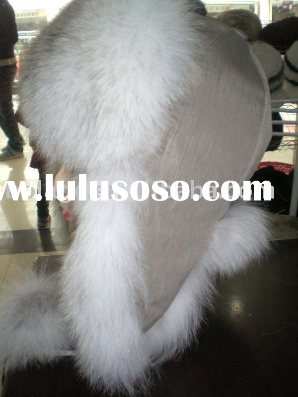 Russian style blue fox fur hat-----Ushanka