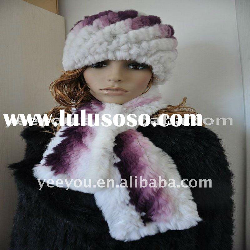 White and Purple Western style rex Rabbit fur Knitted Set hat/Cap and Scarf 10YY-F10