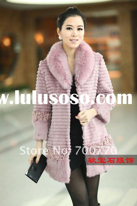 """ Flower Series"" Rabbit Fur Long Coat (1047#) New Hot Style - Unique Flower Style"