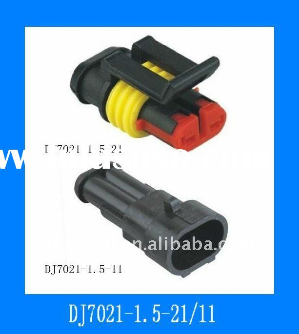 black waterproof auto connector with 2 pins