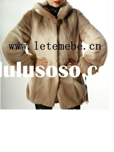 fashion lady's real mink fur coat