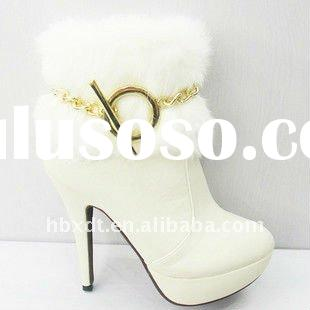 imported rabbit fur designer ankle boots white
