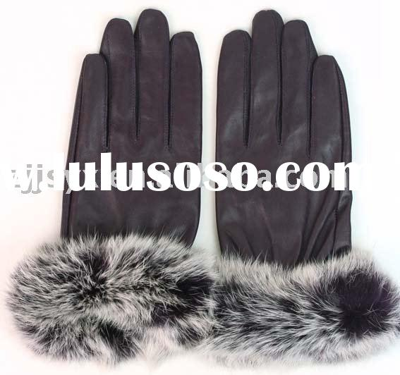 lady's fashion leather gloves rabbit fur