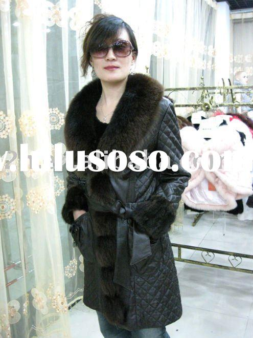 sheep leather with fox fur coat Y021