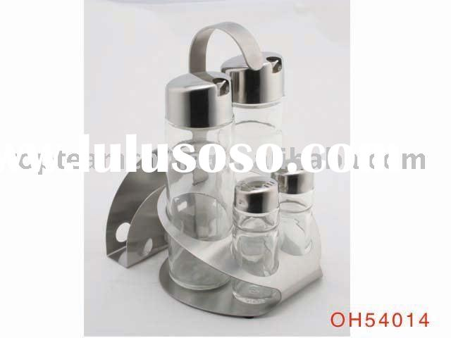 stainless steel with glass salt and pepper shaker set