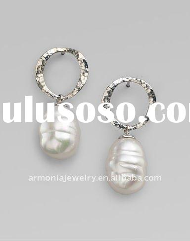 12MM White Freshwater Baroque Pearl & Hammered Sterling Silver Drop Earrings