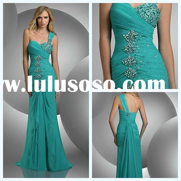 2011 Top Design One Shoulder Sheath Sleeveless Beaded Flower Pleated Chiffon Maternity Prom Dresses