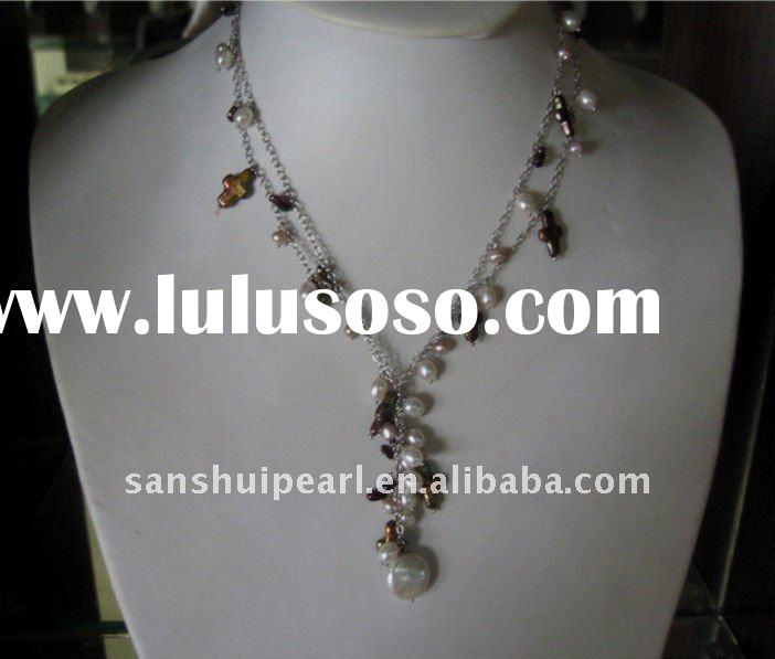 2011 fashion pearl necklace with chain