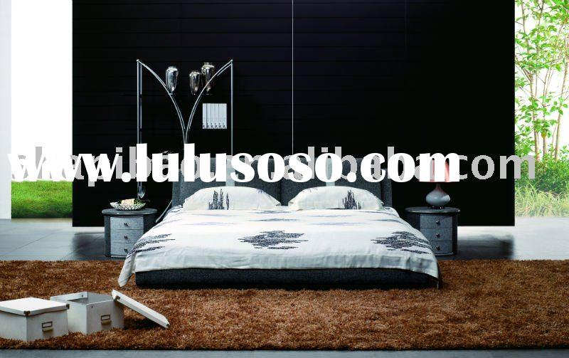2011 modern bedroom furniture fabric full size single double soft bed sets V9010