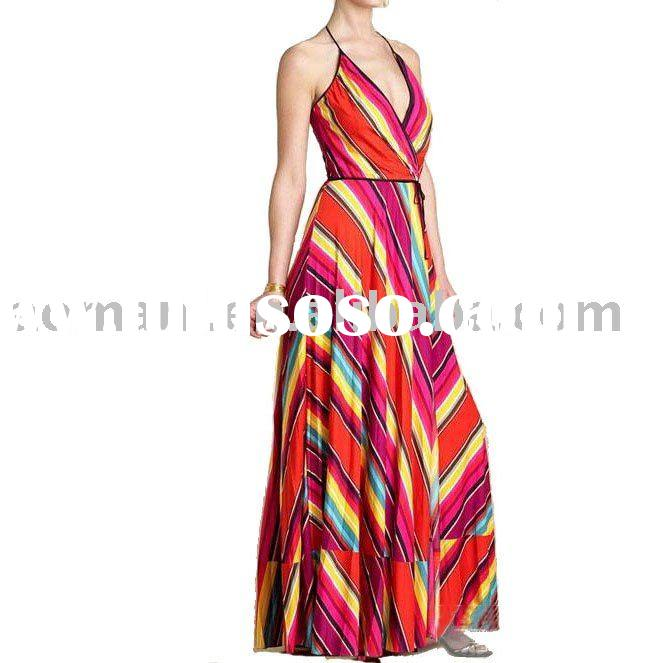 2011 new fashion spaghetti strap mix color stripe women maxi dresses