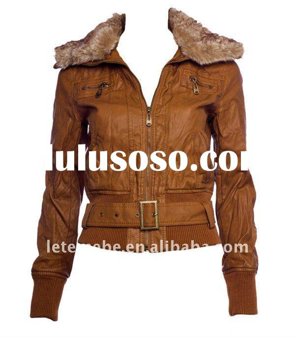 2011 newest bomber leather jacket! women's pu leather jacket with faux fur collar