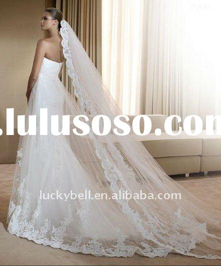 2012 Hot sale Generous One-layer Applique Bridal Veil